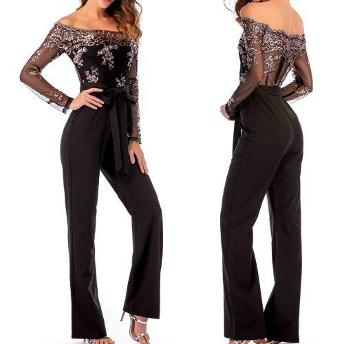 Femme Pantalon Women Fashion Wide Leg Sequin Mesh Splice Cold Shoulder Long Sleeve Jumpsuit Комбинезон Женский Лето