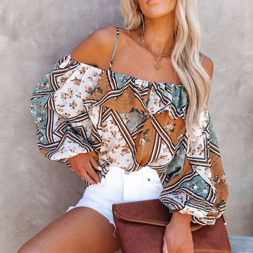 Chiffon Off Shoulder Spaghetti Strap Summer Tops Fashion Women Holiday Beach Shirt Vintage Leaf Print Elegant 2021 Female Blouse