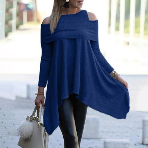 40# Cold Shoulder Blouse Women Solid Long Sleeve Irregular Sweatshirt Loose Print Elegant Pullover Tops Blouse Блузка Женская