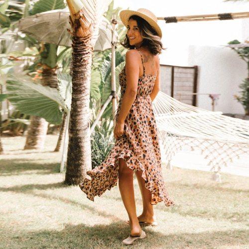 4# Summer Beach Maxi Dress Women Floral Print Boho Long Dress Ruffles Wrap Casual V-neck Split Party Sexy Dress Платье Летнее