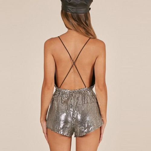 Sequin Strap Playsuit V-neck Sexy Club Party Rompers Sleeveless Backless Silver Summer Birthday Short Jumpsuit No belt