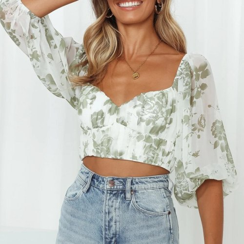 Chiffon Vintage Floral Print Cross Crop Top Women Beach Lantern Sleeve V-Neck Female T-Shirt INS Summer Backless Sweet Lady Tops