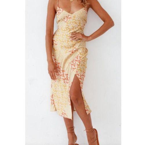 Lady Summer Sleeveless Backless V-neck Split Pencil Dresses Women Sexy Printed Suspender Dress Simple Design Slim Dress