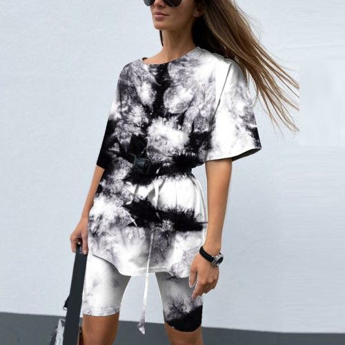 2021 New Casual Tie Dye Women Two Piece Sets With Belt Home Loose Sports Tracksuits Fashion Leisure Bicycle Suit Summer Clothing