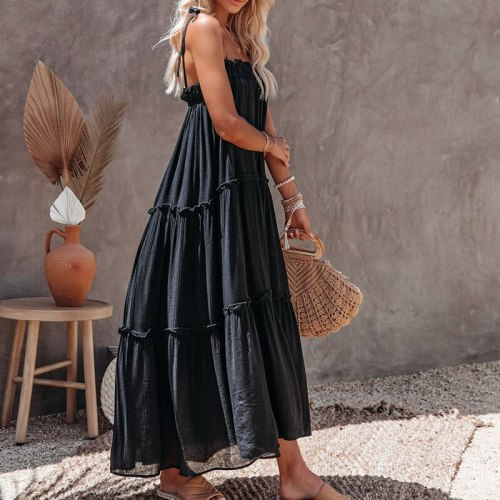 Boho Dress Women Summer Sexy Sling Dress Solid Color Strapless Ankle-Length  A-LINE Big Swing Maxi Dresses for Women Lugentolo