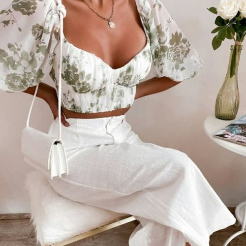 Women Floral Print Back Lace-Up Suqare Collar Short Sleeve Chiffon Blouse