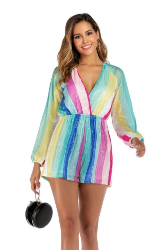 Women Holiday Strap Mini Playsuit Sexy  Sequined  V Neck Long Sleeve Jumpsuit Sexy Shorts Jumpsuit Club Clothes