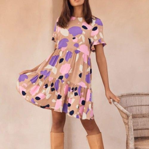 Summer Bohemia Short Butterfly Sleeve Print Dress Women Casual Loose O Neck Mini Dress 2021 Fashion Ruffle Woman Beach Sundress