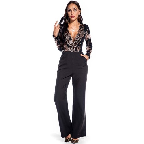 Vintage Overlay Sequins Jumpsuits Womens Glitter Sequins Long Sleeve Skinny Romper Bodysuit Club Overalls Plus Size