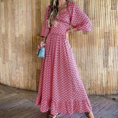 Summer Print Square Collar Maxi Dress Women Three Quarter Lantern Sleeve High Waist A Line Long Dress Female Party Vestidos 2021
