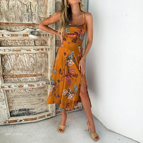 Summer Women Satin Sleeveless Dress Spaghetti Strap Floral Printed Sexy Split Long Sling Dresses Casual Party Female Vestidos
