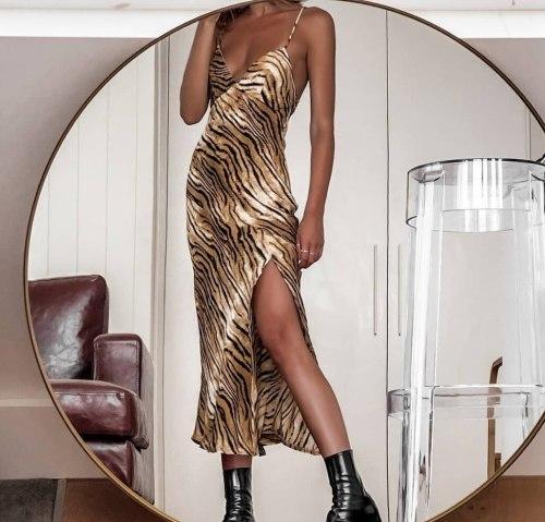 Women Casual Fashion Long Dress Slash Neck Sling Print Leopard High Split Fork Fashion Loose High Waist Sexy Vestidos Summer New