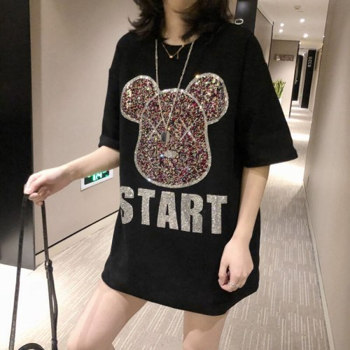 Super Heavy Industry Hot Rhinestone Bear New Mid-length Short Sleeve T-shirt Women's Cotton Breathable Half Sleeve Oversized Top