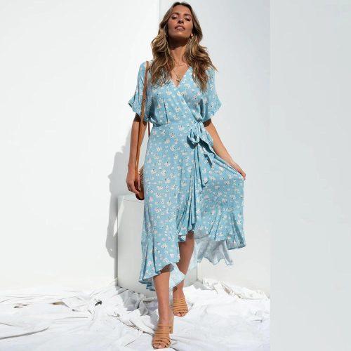 Boho Print Summer Dress Women Casual Ruffle Wrap A-line Midi Dress Robe Holiday Elegant Dresses Asymmetry Vestidos