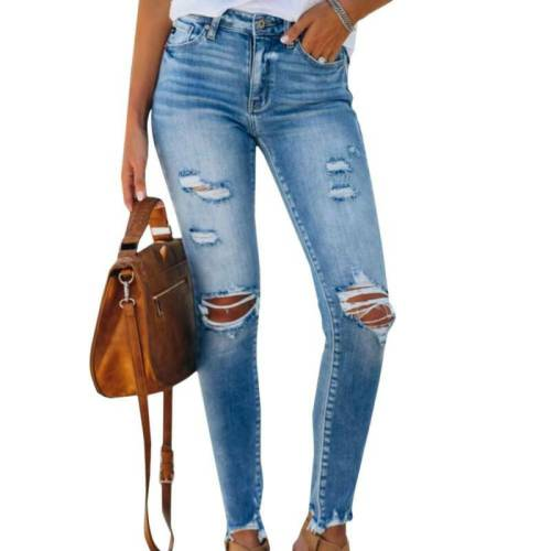 Womens Skinny Ripped Jeans Stretch Distressed Fit Denim Comfy Trousers