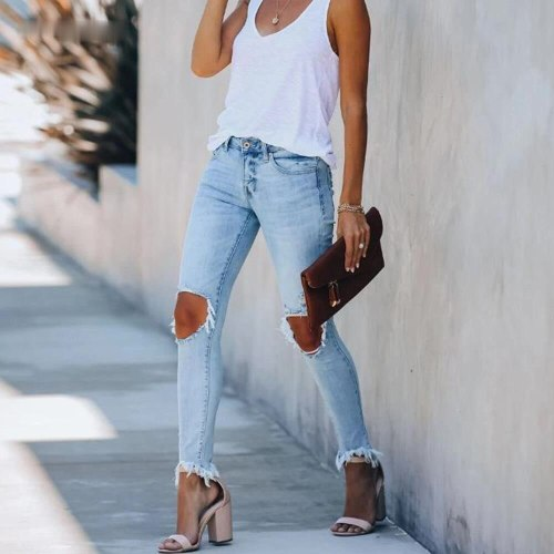 Destroyed Pencil Pants Casual Trousers Summer Ripped Jeans Mid Waist Skinny Jeans Women Vintage Distressed Denim Pants