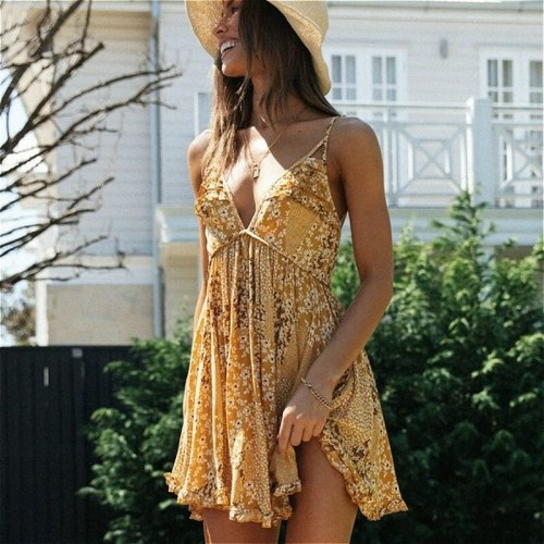 Deep V Neck Sleeveless Backless Sexy Dress Women Boho Beach Yellow Cotton Floral Print Summer Dresses Ruffles Mini Robe