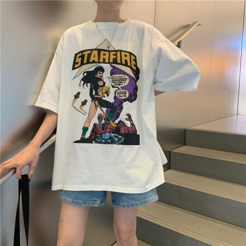 Early spring 2021 Korean version net red foreign style short sleeve, loose and lazy style, with student T-shirt and female half