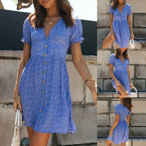 Clothes Female Women's Casual Comfort High Waist V-Neck Small Floral Button Dress Fashion Print A-Line Short-Sleeve Dress