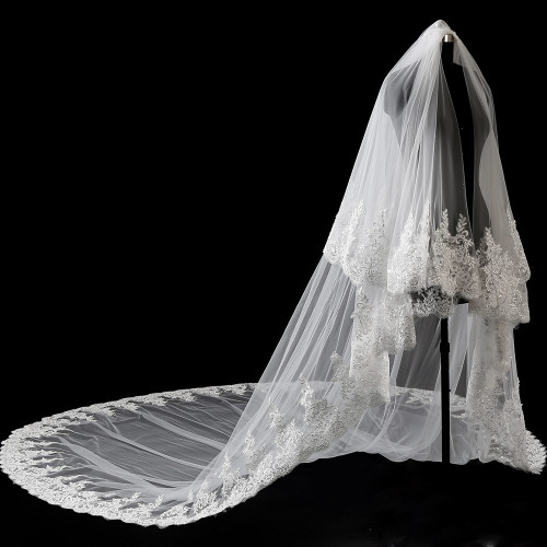 4 Meters Neat Sparkle Sequins Lace Edge 2T Wedding Veil with Comb 4M Long Luxury 2 Layers Bridal Veil