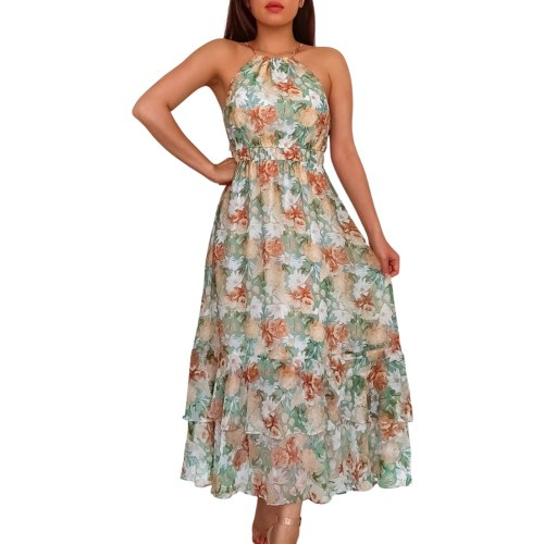 Summer Women 2021 Fashion Casual Suspender Dress Fashion Flower Off-shoulder Double-layer A-line Mid-length Dress Beach Dress