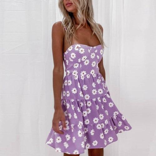 Women Small Floral Print Dress Summer Fashion Spaghetti Strap Mini Casual Slim Strapless Dress Women Party Dresses Female Dress