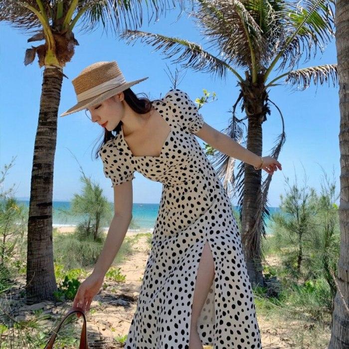 Dots Print Puff Short Sleeve Women Dress High Split Party Long Dresses Elegant Up Sweet Summer Club Sexy Dress
