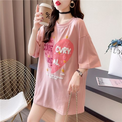 2021 new summer pure cotton ladies short-sleeved t-shirt maternity wear loose plus size women's French retro trendy ladies tops