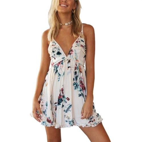 Women Fashion Spaghetti Strap Deep V-Neck Dress Female Backless Floral Print Sleeveless Dresses For Summer 2021