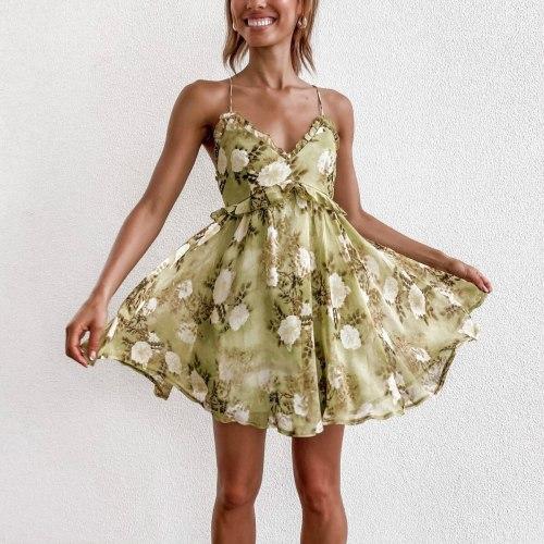 Boho Spaghetti Strap Floral Dress A-Line Women Back Cross Lace-up Sundress Summer Sweet Lady Lace Frill V-Neck Flared Dress