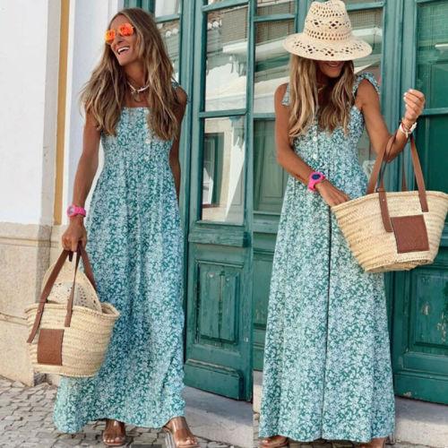 Women Holiday Strappy Long Maxi Dresses Ladies Summer Party Beach Flower Sun Dress Sleeveless Boho Dress
