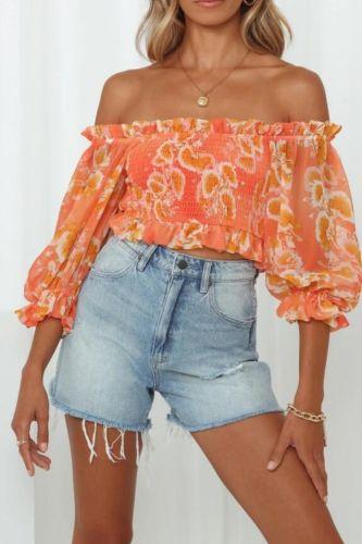 sexy slash neck print blouses shirt 2021 women butterfly sleeve blusas female sweet blouses
