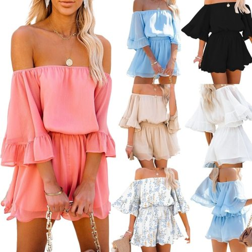 Women Summer Chiffon Playsuits Off the Shoulder Strapless Short Jumpsuits and Rompers Ladies Beach Casual Bodysuits