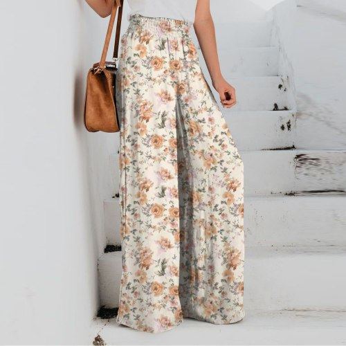 Loose Pleated Flare Pants Women Solid Color Wide Leg Pants Large Size Loose Long Trousers Boho Femme Pantalon