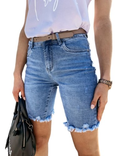 Women Summer Denim Shorts Ripped Hole Jeans Short Pants Ladies Solid Skinny Shorts