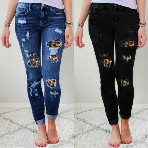 2021 Fall Women's Plus Size Skinny Jeans Solid Color Leopard Patchwork Irregular Ribbed Hole Pencil Pants Stretch Slim Pants