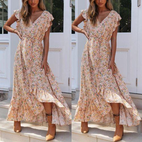#H40 Summer Beach Maxi Dress Women Floral Print Boho Long Dress Ruffles Wrap Casual V-Neck Split Sexy Party Dress Robe Femme