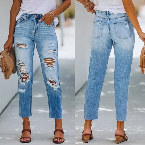 Women Casual Fashion Long Pants Buttons Pocket Frayed By Hand Wash and Make Old Hole Slim Streetwear High Waist New Summer 2021