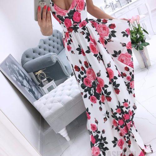 2021 women's summer new print and floor dress