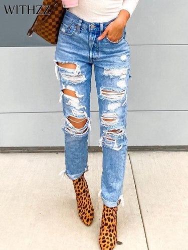 Spring Summer Female Denim PantsTrousers Slim Straight Pants Women's Hole Ripped Jeans