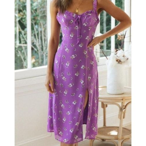 Summer Slim V-neck Backless Lace Up Leisure Beach Holiday Dresses Midi Dress 2021 Party Robe Sexy Women Split Floral Print Sling