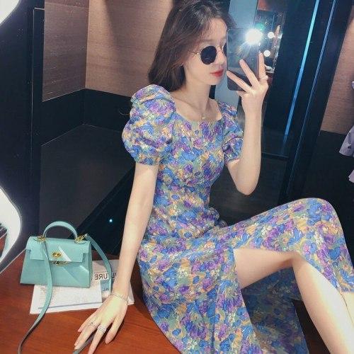 2021 summer New Floral v-neck puff sleeves dress women temperament dress ladies Vacation beach High waist women dress
