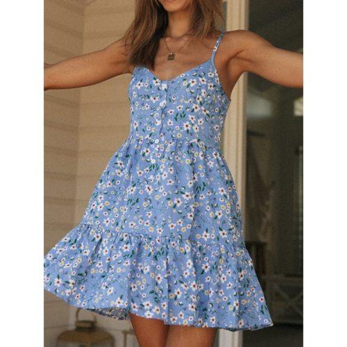 Casual Floral Summer 2021 Dress Women Ruffles Blue Spaghetti Strap Short Dress Plus Size Female Dresses Vestidos