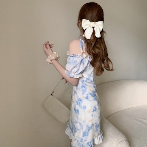 Korean Tie Dye Dress Women Summer 2021 New Slash Collar Strapless Puff Sleeve Slim Printed Short Dress Sweet Elegant