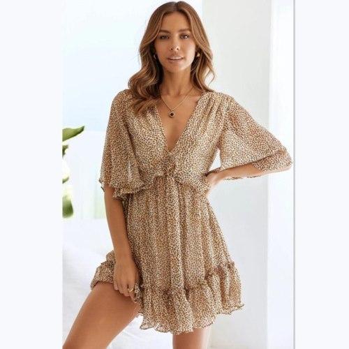 Casual Vintage Leopard Women Dress 2021 Summer Elegant Ruffles Flare Sleeves Mini Dresses
