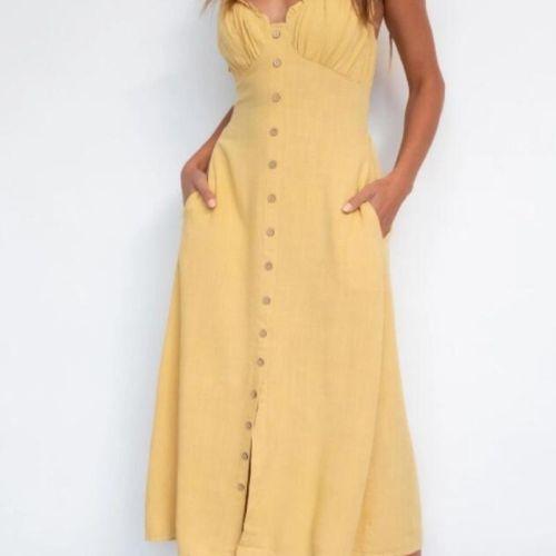Casual Solid Yellow Boho Beach Style Midi Dress Women Summer Sundress Backless Holiday Elegant Loose Midi Dress Vestido De Mujer
