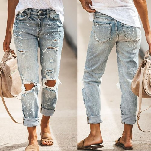 High Waist Loose Jeans Clothes Women Casual Blue Denim Streetwear Ripped Hole Trousers Lady Fashion Straight Pants 2021