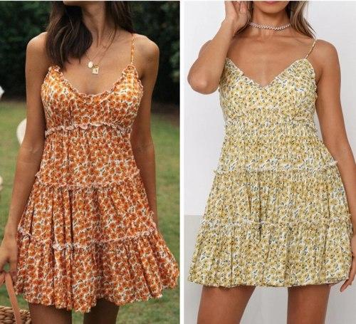 Sweet Flowers Print Sleeveless Sling A-Line Dress Women Sling Sundress Summer Chic Lady Lace Trim V-Neck Mini Dress Floral