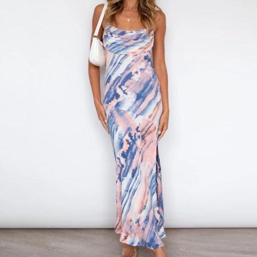Spaghetti Strap Sexy Bodycon Sexy Long Dress Women Summer Beach Tie-dye Split Boho Sleeveless Plus Size Dress Vestidos