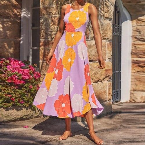 Print Long Women Dress Tank Sleeveless Round Neck A-Line High Waist Summer Dresses Casual Beach Style Female Vestidos 2021